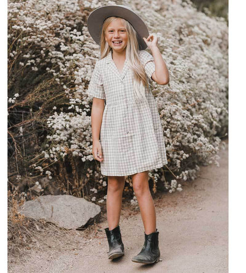 Rylee Cru beige gingham girls shirt dress