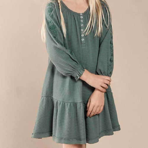 Rylee Cru green thermal girls dress with floral sleeves