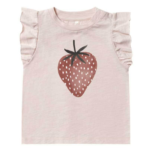 Rylee & Cru strawberry graphic ruffle tank top for girls and toddlers
