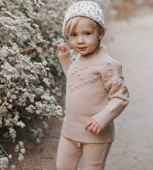 Rylee Cru baby girl pink bobble sweater