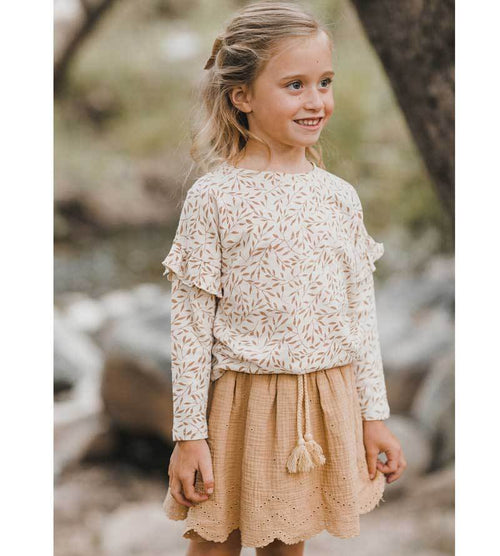 Rylee Cru wheat top with honey girls skirt