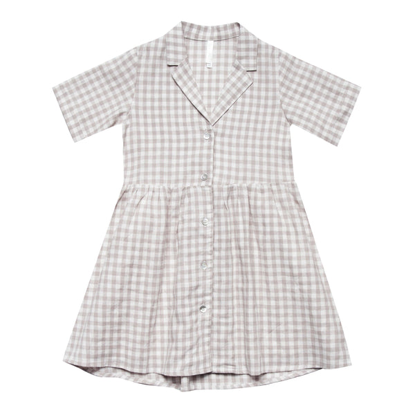 Rylee and cru tan gingham girl and toddler dress
