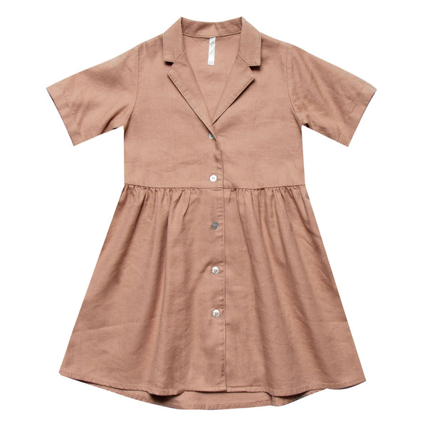 Rylee and Cru rose button front toddler and girls short sleeve dress