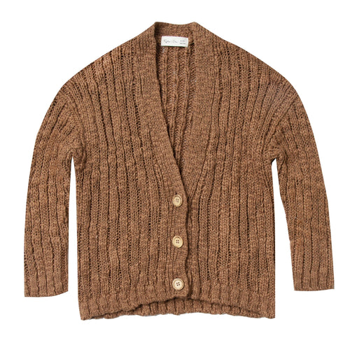 Rylee and cru brown ribbed girls cardigan sweater