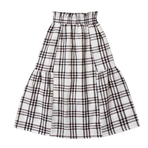 Rylee and Cru Black and White check girls maxi skirt