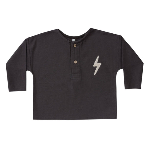 Rylee and cru black lightning bolt boys thermal t-shirt