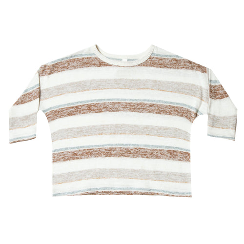 Rylee and cru brown and ivory stripe girl tee