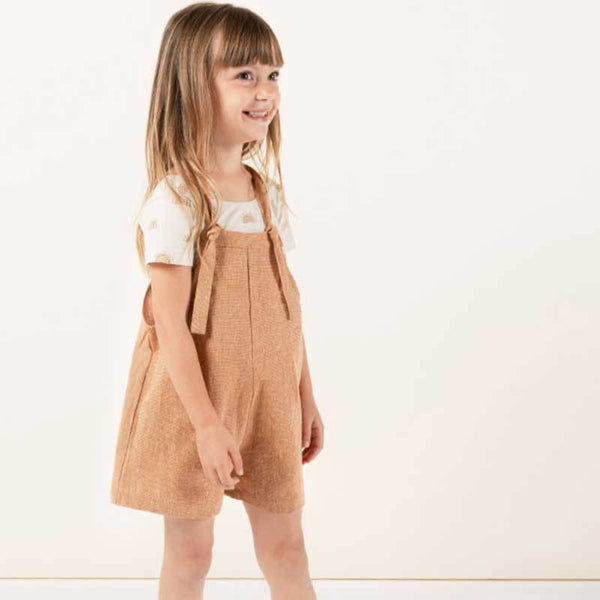Rylee and Cru toddler and girls short overalls bronze