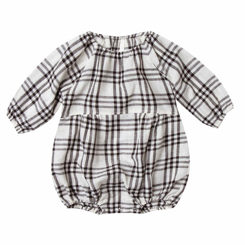 Rylee and cru ivory and black check baby girl romper