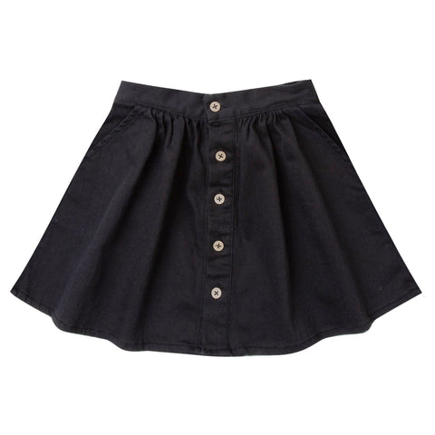 Rylee and Cru Black Button Up Girls Skirt