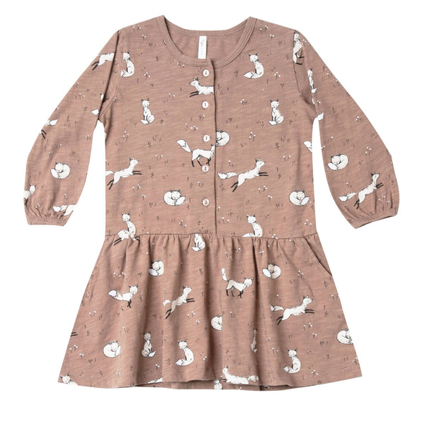 Rylee and Cru Girls Button Down Dress Truffle Winter Fox Frock for Girls