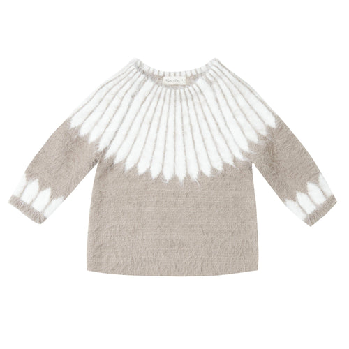 Rylee and cru tan and white kids sweater