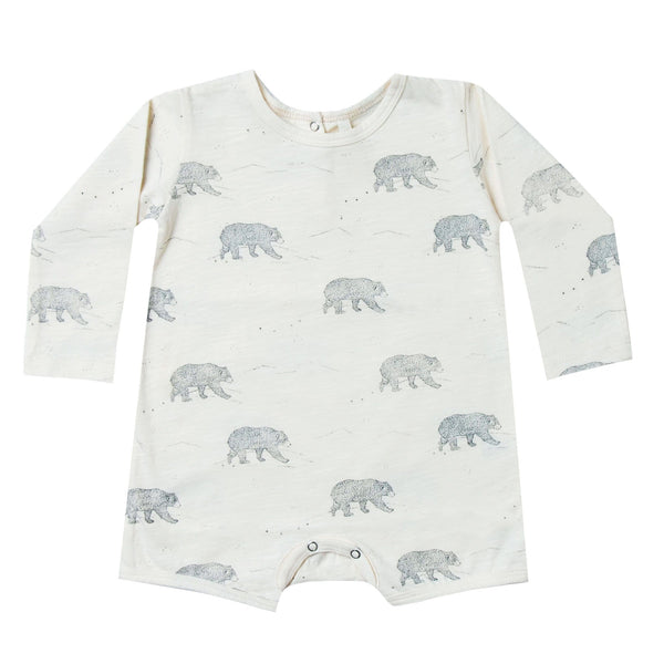 Rylee and Cru ivory bear print baby boy romper