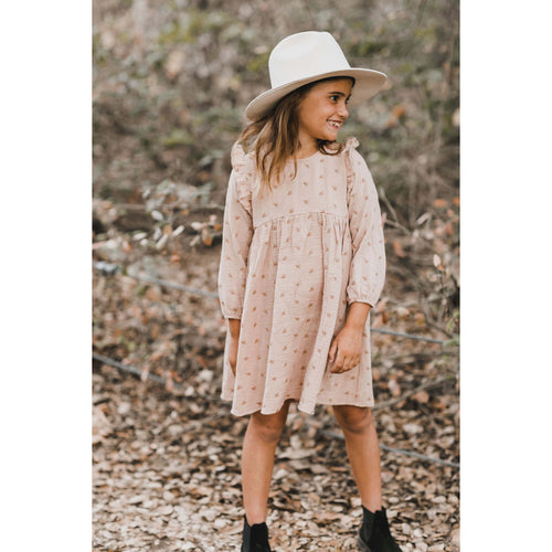 Rylee and Cru long sleeve pink embroidered girls dress
