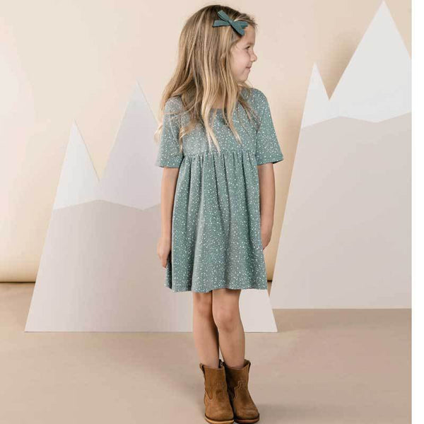 Rylee and Cru green dot short sleeve girls dress