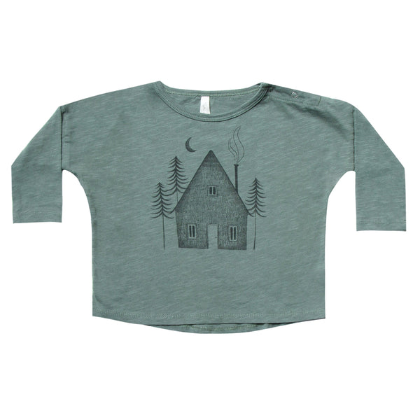 Rylee and Cru Spruce green 3/4 sleeve boys tee with cabin graphic