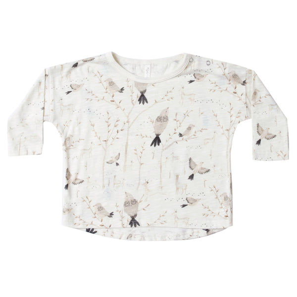 Rylee and Cru ivory long sleeve bird print girls tee shirt