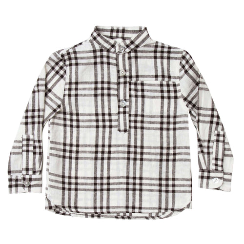Rylee and cru ivory and black check boys shirt