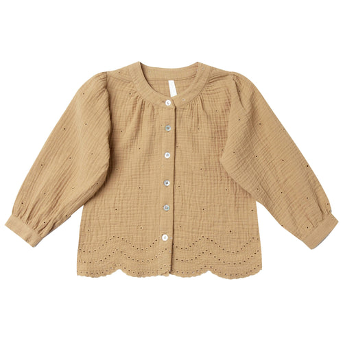 Rylee and cru gold eyelet toddler and girls blouse