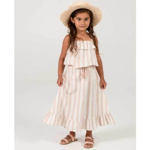 Rylee & Cru pink stripe linen girls tank top and skirt