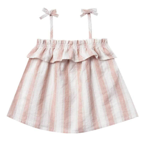Rylee and Cru pink stripe ruffle girls tank top with shoulder ties