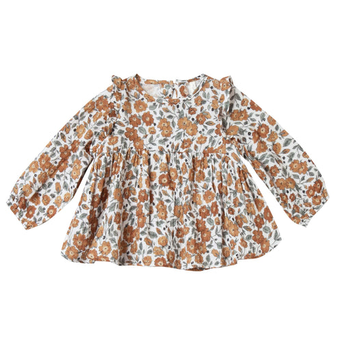 Rylee and cru floral print baby girl blouse