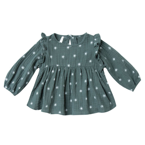 Rylee and Cru green star print baby girl blouse
