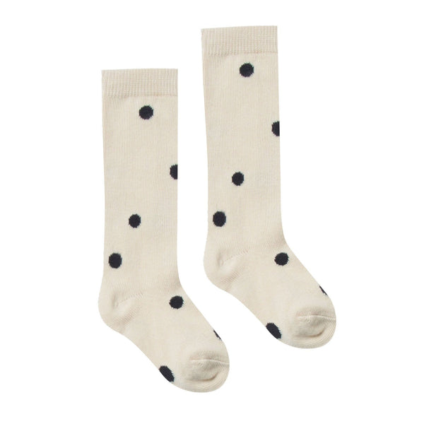 Rylee and cru ivory with black dots girls socks