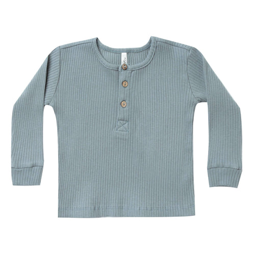Rylee and cru blue ribbed kids henley tee