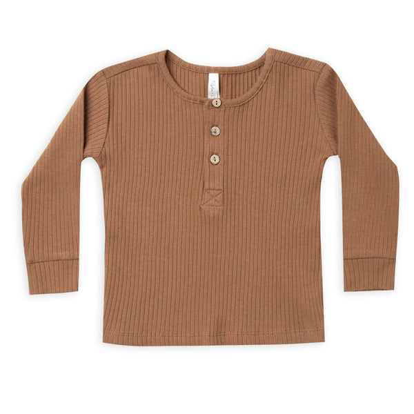 Rylee and cru brown ribbed kids henley tee