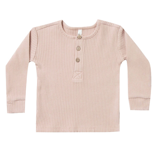 Rylee and Cru Pink Ribbed Girls Henley Tee