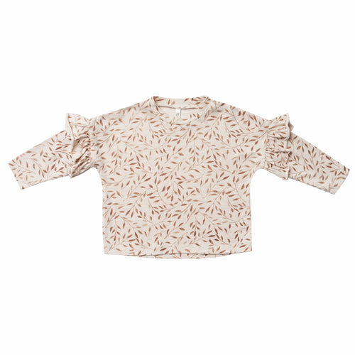 Rylee and Cru Girls Shirt Off White with Vines Wheat colored Blouse for Girls