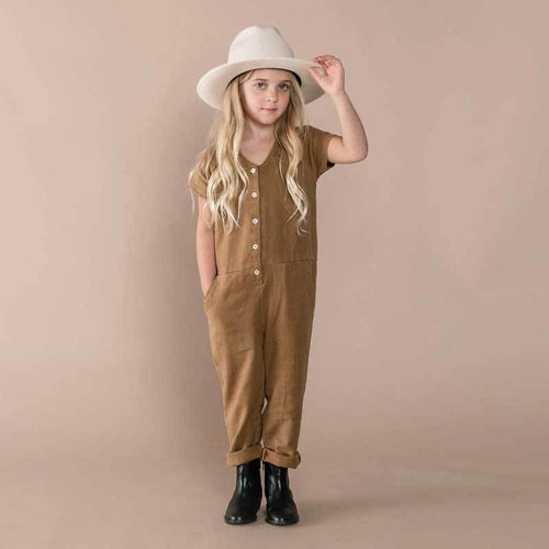 Rylee and Cru rust girls utility jumpsuit