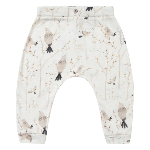 Rylee and Cru Baby Pants Ivory with Winter Birds Slouch Pants for Babies