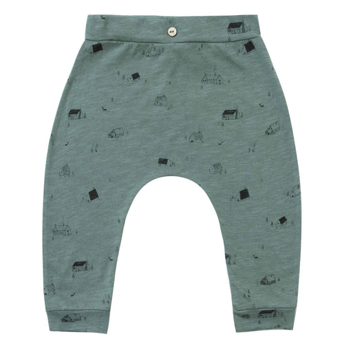 Rylee and Cru spruce green baby boy pants with cabin print