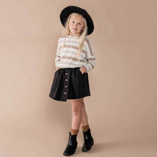 Rylee and Cru striped sweater black girls skirt