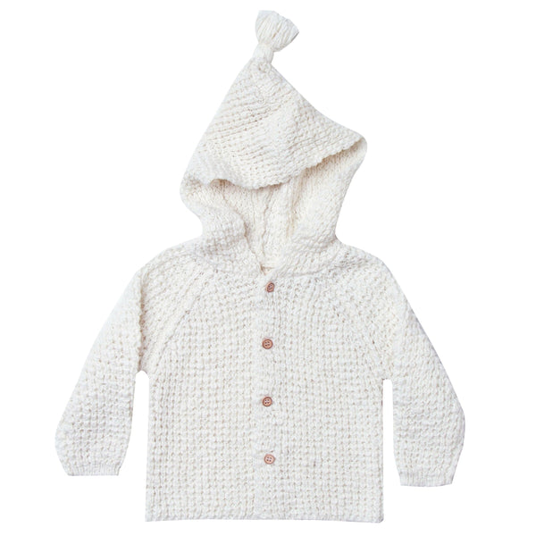 Rylee and Cru ivory hooded baby cardigan sweater