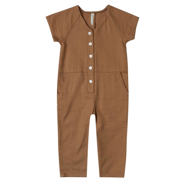Rylee and cru brown button toddler and girls jumpsuit