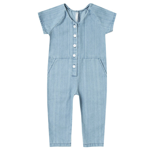 Rylee and Cru blue short sleeve utility girls jumpsuit