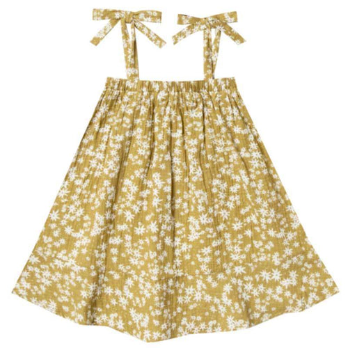 Rylee and Cru yellow floral Aline girls sundress with shoulder ties