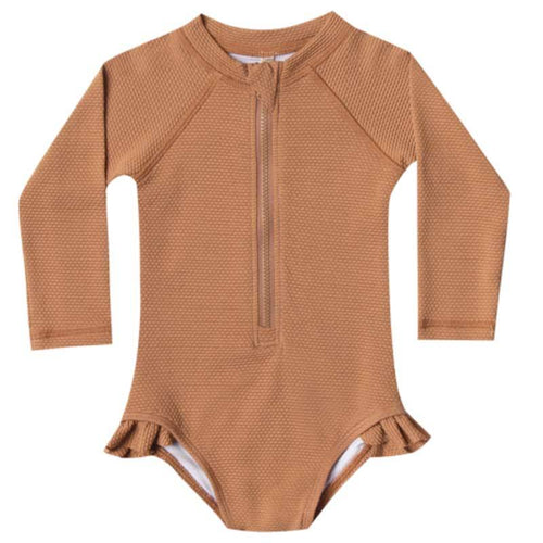 Rylee and cru long sleeve rash guard girls swimsuit with zip front