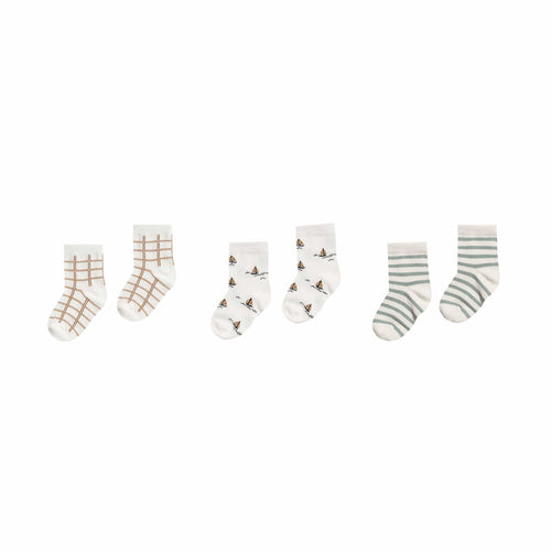 Bronze Grid, Sailboat, Sea Stripe Sock Set by Rylee and Cru
