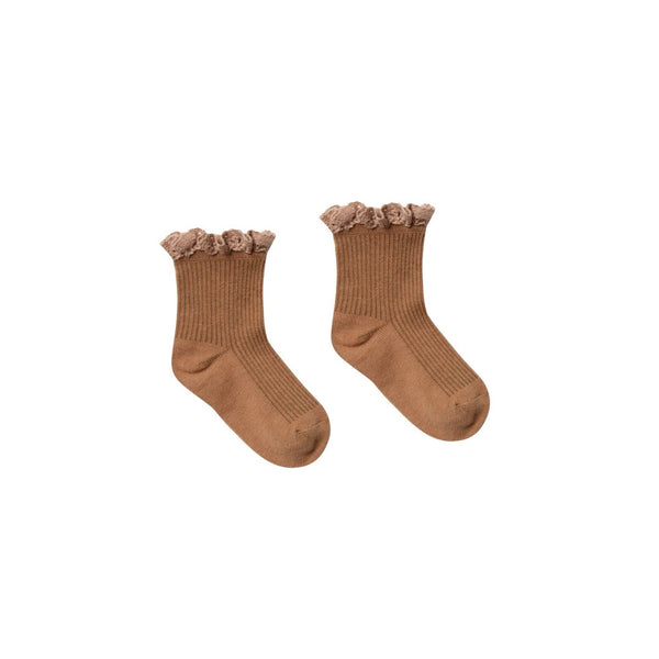 Bronze Lace Trim Ribbed Girls Socks by Rylee and Cru