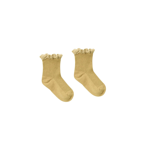 Citron Lace Trim Ribbed Girls Socks by Rylee and Cru