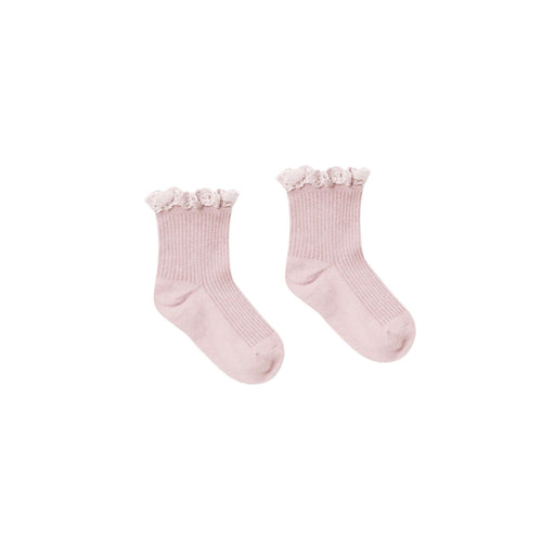 Lilac Lace Trim Ribbed Girls Socks by Rylee and Cru