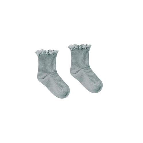 Sea Lace Trim Ribbed Girls Socks by Rylee and Cru