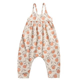 Rylee and cru peach print baby girl jumpsuit