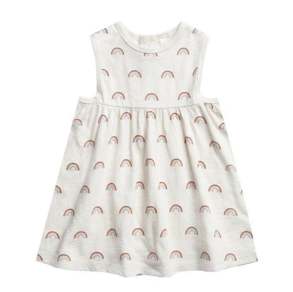 Rylee and cru white rainbow print girls sleeveless dress
