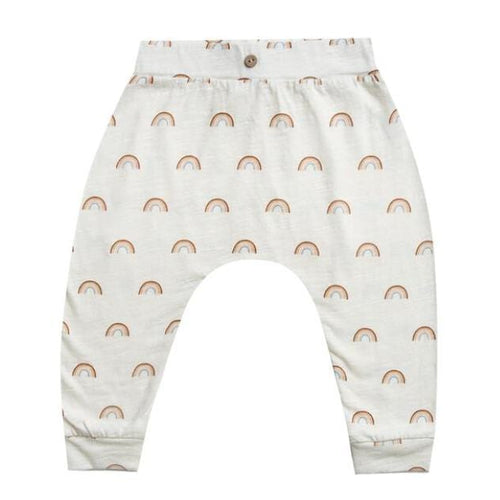 Rylee and cru white rainbow print baby girl pants