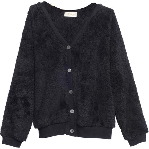 Black long sleeve fleece girls cardigan sweater